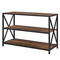 Industrial X-Frame Metal Oak Wood Bookshelf