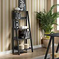 Black 4-Tier Ladder Bookshelf