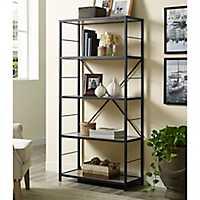 Metal X-Frame and Driftwood 4-Tier Bookshelf