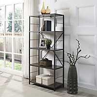 Metal X-Frame Dark Walnut Wood 4-Tier Bookshelf