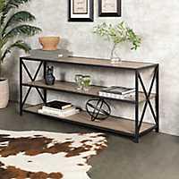 Rustic X-Frame Metal and Driftwood Bookshelf