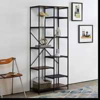 Urban Multi-Level Mesh Dark Walnut Wood Bookshelf