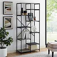 Urban Multi-Level Mesh Gray Wood Bookshelf