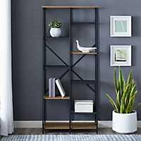 Urban Multi-Level Mesh Oak Wood Bookshelf