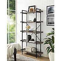 Metal Pipe Driftwood 5-Tier Bookshelf