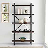 Metal Pipe Dark Walnut Wood 5-Tier Bookshelf