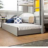 Solid Wood Gray Trundle Twin Bed