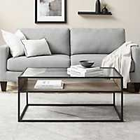Urban Glass Top Metal and Gray Wood Coffee Table