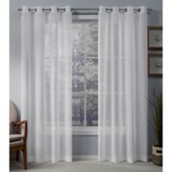 White Belgian Sheer Curtain Panel Set, 84 in.