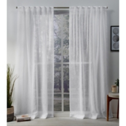 White Sheer Tab Top Curtain Panel Set, 96 in.