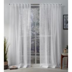 White Sheer Tab Top Curtain Panel Set, 108 in.