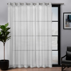 White Belgian Sheer Patio Curtain Panel, 84 in.
