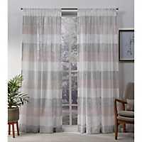 Blush Bern Stripe Sheer Curtain Panel Set, 96 in.
