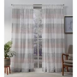 Blush Bern Stripe Sheer Curtain Panel Set, 108 in.