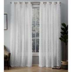 White Eyelash Curtain Panel Set, 84 in.