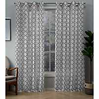 Charcoal Helena Sheer Curtain Panel Set, 84 in.