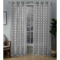 Charcoal Helena Sheer Curtain Panel Set, 96 in.