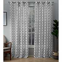 Dove Gray Helena Sheer Curtain Panel Set, 84 in.