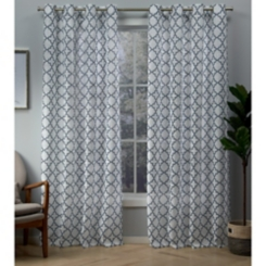Indigo Helena Sheer Curtain Panel Set, 84 in.