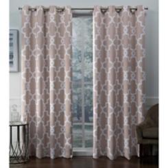 Blush Ironwork Woven Curtain Panel Set, 84 in.