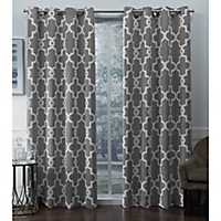 Silver Ironwork Woven Curtain Panel Set, 96 in.