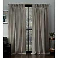 Beige Pinch Pleat Loha Curtain Panel Set, 96 in.