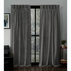 Black Pearl Pleated Loha Curtain Panel Set, 84 in.