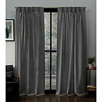 Black Pearl Pleated Loha Curtain Panel Set, 96 in.