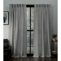 Dove Gray Pleated Loha Curtain Panel Set, 84 in.