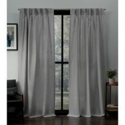 Dove Gray Pleated Loha Curtain Panel Set, 96 in.