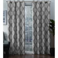 Silver Medallion Curtain Panel Set, 96 in.