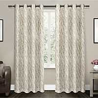 Oakdale Taupe Sheer Curtain Panel Set, 108 in.
