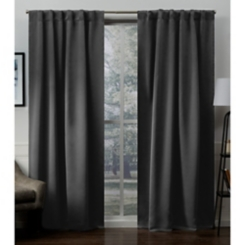 Charcoal Blackout Sateen Curtain Panel Set, 96 in.