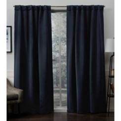 Peacoat Blue Sateen Curtain Panel Set, 84 in.