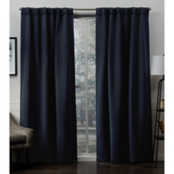 Peacoat Blue Sateen Curtain Panel Set, 96 in.