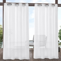 White Sheer Tao Outdoor Curtain Panel Set, 96 in.