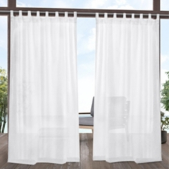 White Tao Tab Outdoor Curtain Panel Set, 84 in.