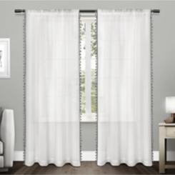 Black Pearl Tassels Curtain Panel Set, 108 in.