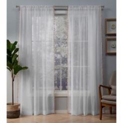 Blush Tassels Sheer Curtain Panel Set, 84 in.