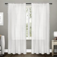 White Tassels Sheer Curtain Panel Set, 108 in.