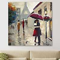 Red Umbrella Couple Giclee Canvas Art Print
