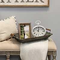 Distressed White Metal Tabletop Clock