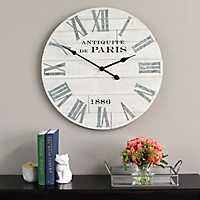 Distressed Whitewash Paris Wall Clock
