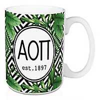 Alpha Omicron Pi Tropical Palm Mug