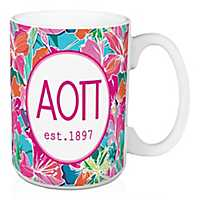 Alpha Omicron Pi Bright Floral Mug