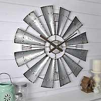 Distressed Metal Windmill Wall Clock