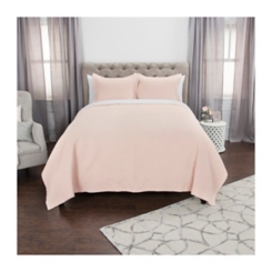 Solid Pink Geometric King Quilt