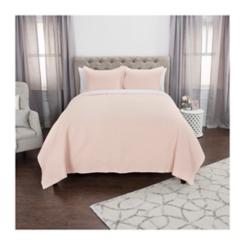 Solid Pink Geometric Queen Quilt