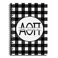 Alpha Omicron Pi Buffalo Check Spiral Notebook