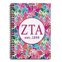 Zeta Tau Alpha Bright Floral Spiral Notebook